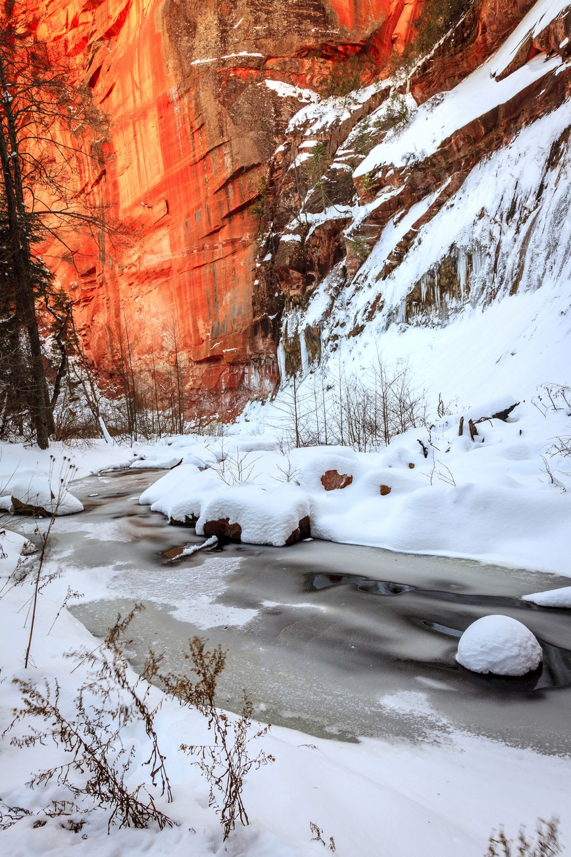 Snow Covered Oak Creek Winds Through Glowing Red Rocks